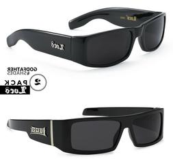 2 Pack LOCS | BLACK Sunglasses Designer Men Gangster Cholo L