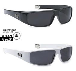 2 Pack LOCS | Black + White Sunglasses Gangster Rapper Lowri