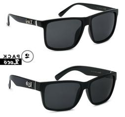 2 Pack LOCS Mens Gangster Classic Rectangular Shades Black L