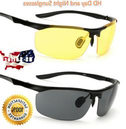 2 Pairs Day & Night Vision HD Sunglasses UV400 Men Women Dri