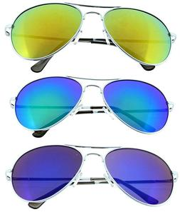 3 Pack Aviator Sunglasses Classic Metal Mirror Spring Temple