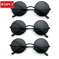 3 PACK BLACK COMBO Retro Hippie Sunglasses Men Women John Le