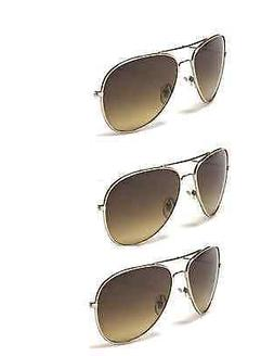 3-Pack Mens or Womens Gold Frame Amber Lens Aviator Sunglass