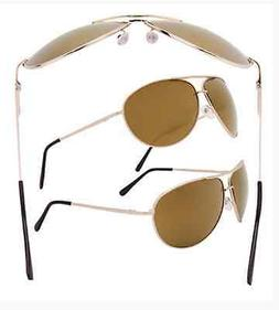 3 pack of Gold Frame Amber Lens Aviators Metal Frame Driving