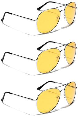 3 PACK Oversized Men Aviator Sunglasses Yellow Night Vision