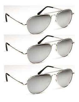 3Pack Mens & Womens Sharp Stylish Silver Mirror Aviator Sung