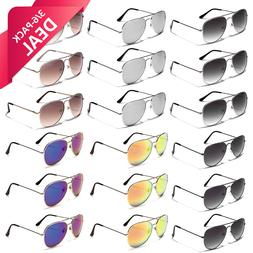 6 PACK Sunglasses Party Favors Bulk Lot Aviator Retro Men Wo