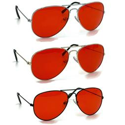 70's Glasses Red Tint Lens Aviator Sunglasses Pilot Classic