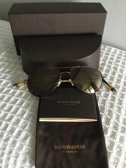 Authentic Oliver Peoples sunglass Benedict-Rose Gold with Bu
