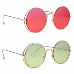 Big Round Oversized Double Wire Side Rim Sunglasses Metal Fr