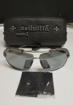 Brand new mens Affliction Sunglasses..Chrome black with leat