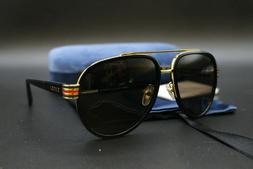 GUCCI GG0447S 003 Black Gold Brown Lens GG 0447S 58mm Large