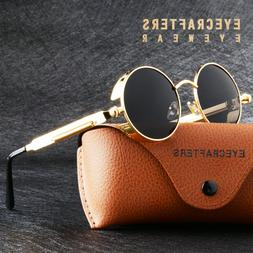 Retro Gothic Steampunk Polarized Sunglasses Vintage Round Mi