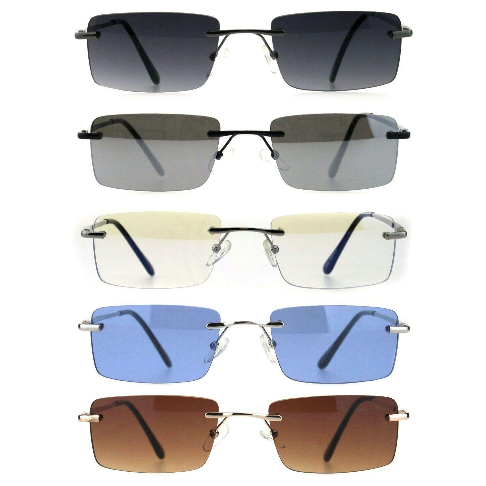 mens rimless rectangular minimal metal rim fashion