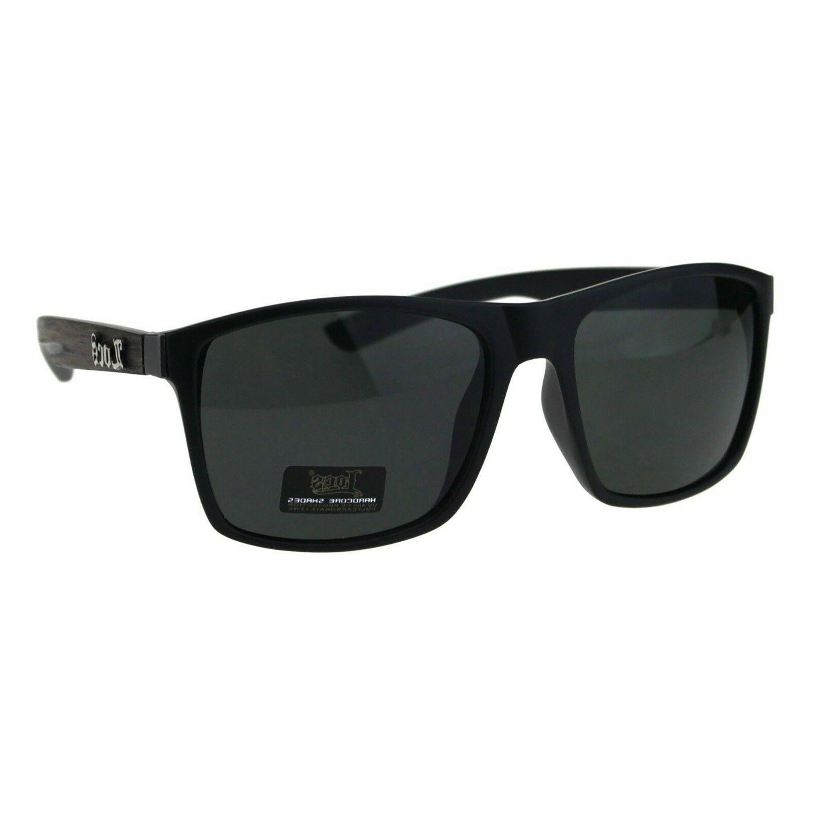 mens sunglasses matted black wood print square