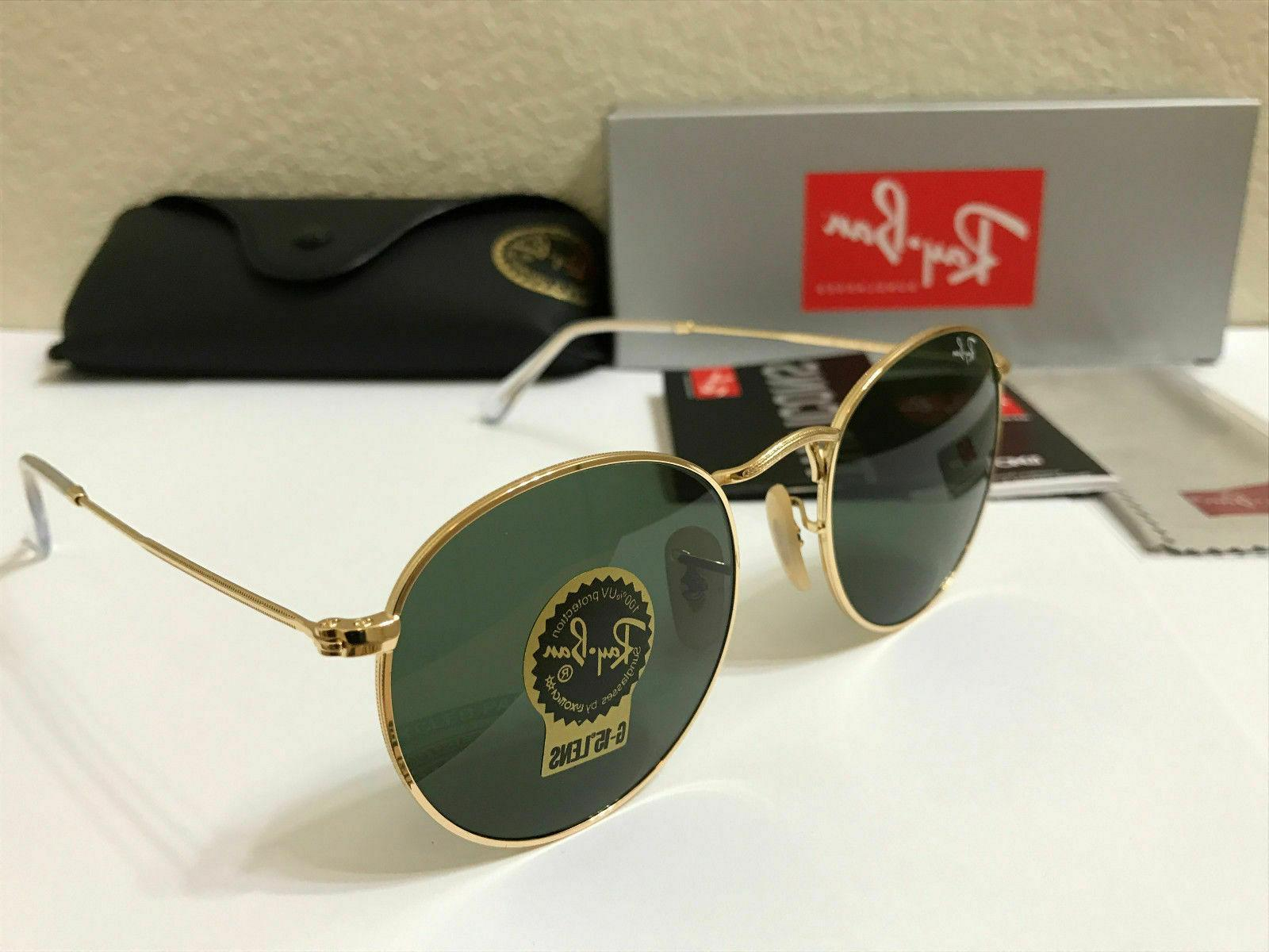 ray ban sunglasses round metal gold frame