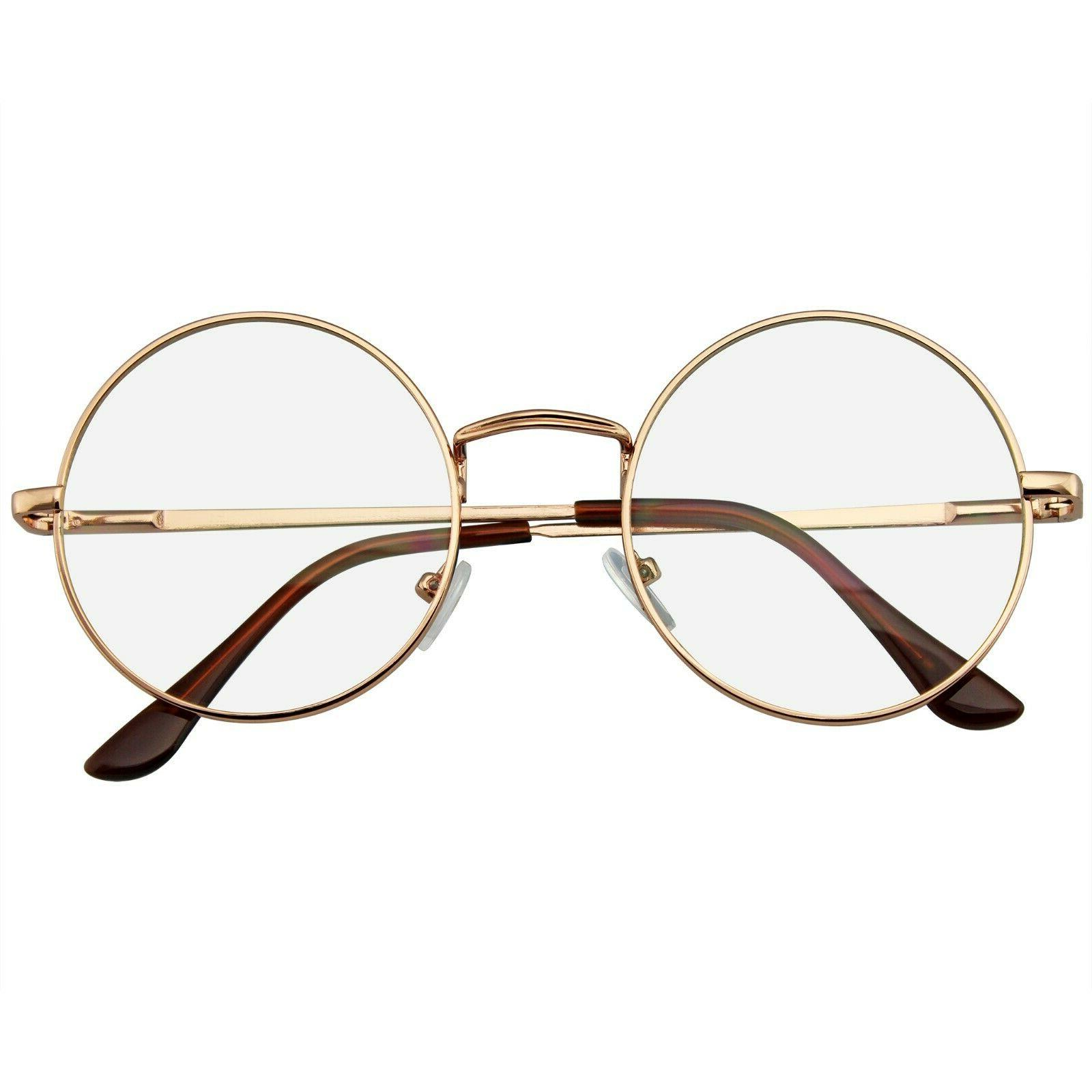 round glasses retro vintage classic metal clear