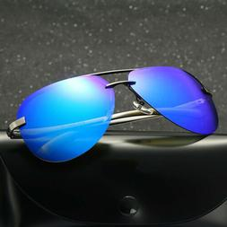 Men's UV400 Pilot Polarized Lens Aviator Sunglasses for Driv
