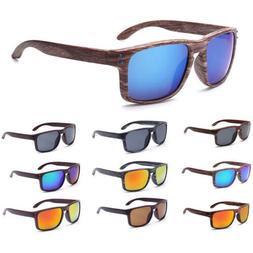 Men's Women Retro Faux Wood Print Square Sunglasses UV400 Ey