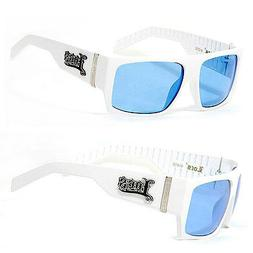 Locs Mens Cholo Sunglasses w/ Free Pouch - White Frame Blue