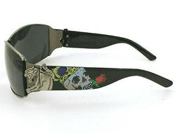 Mens Crowned Skull Sunglasses Pewter and Black Frames Gray L
