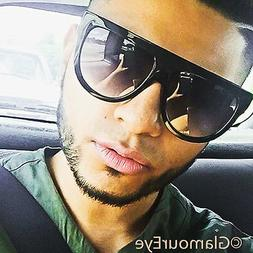 Mens Large Big Shadow Flat Top Round Hipster Shades Popular