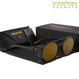 KEITHION Mens Polarized Steampunk Sunglasses Round Mirror Vi