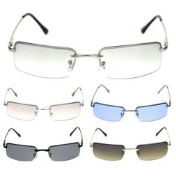Mens Spring Hinge Narrow Rectangular Rimless Classy Metal Ri