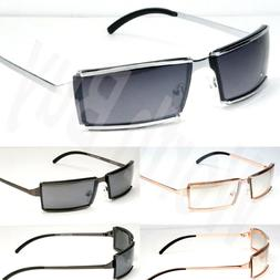 Mens Womens Rectangular Sunglasses Fashion Shades Metal Fram