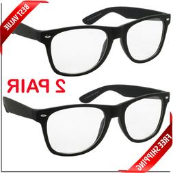 Nerd Style Clear Lens Glasses 2 Pair Mens Womens Fashion Ret
