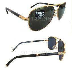 New Mens Sunglasses MontBlanc MB519S 61mm Gold/Green + Case