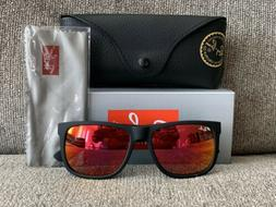 New Ray Ban Justin RB4165 54-16 Unisex Black Frame Red Mirro