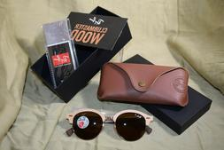 Ray Ban CLUBMASTER Wood Frame 51mm Polarized with gold rim N