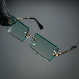 Rimless Rectangle Gold Frame Turquoise Gradient Tint Mens Su