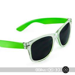 Transparent Clear Frame Green Side Sunglasses Colorful Jolly